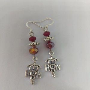 2@$20- Red crystal Nurse Earrings